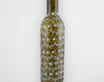 Glass art, vase, wedding wine bottle, glass art painting, art decor