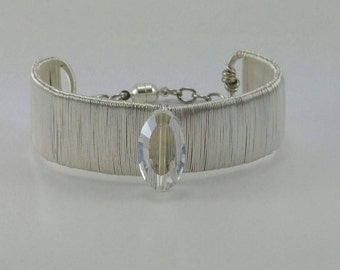 Silver wire cuff bangle with clasp