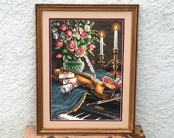 Vintage Paint-by-Number - Old  Fashioned Still Life, Musical Theme, Double Matting, Nicely Framed