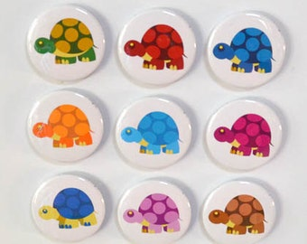 Rainbow of Turtles Magnet Set - 9 magnets - 1.5""