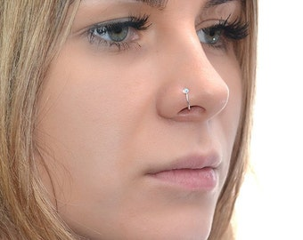 Silver 2mm Opal Nose Ring Hoop 18g / Forward Helix Earring, Tragus Ring / Cartilage Hoop, Daith Ring, Rook Earring, Tragus Earring