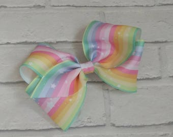 "Large 8"" Pastel Stripes & Stars Boutique Hair Bow with alligator clip like JoJo Siwa Bows Dance Moms Signature Keeper Cheer"