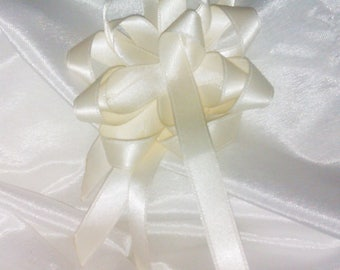 Brooch or hair jewelry • • ivory satin ribbon flower/Star (white, off-white, ecru) • wedding, bridesmaid, gift idea