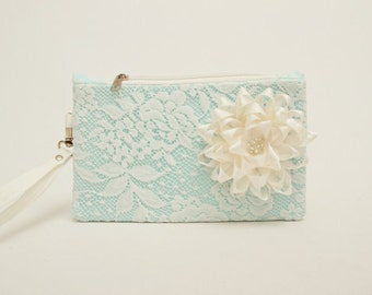 Wristlet  purse clutch with ivory lace and flower  ,bridesmaid clutches ,bridal clutch ,bridesmaid gift ,WITH COLOR OPTION