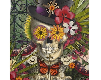 New Orleans Sugar Skull Tapestry - Baron in Bloom - Voodoo Day of the Dead Artwork on Lightweight Polyester Fabric