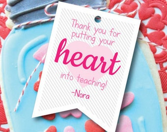 Teacher Gift Tag- Heart into Teaching Valentine- Teacher Valentine Gift- Staff Valentine
