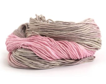 Pure bamboo yarn, pink taupe hand dyed DK yarn, Double knitting wool light worsted crochet yarn, Perran Yarns Neapolitan, uk seller