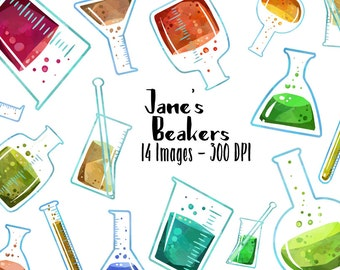 Watercolor Science Clipart - Beaker ClipArt - Digital Download - Beakers Science Chemistry