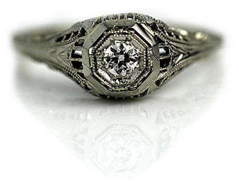 "Rare Antique Diamond Ring, Vintage Diamond Ring, Solitaire European Cut 1930's White Gold Ring AD1754 ""The Sydney"""
