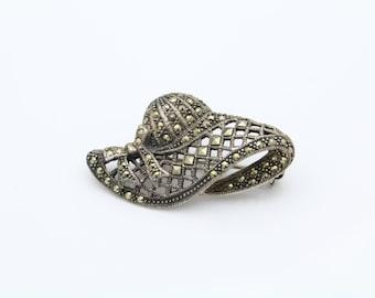 Sterling Silver Marcasite Hat Brooch 7.90 grams. [5748]
