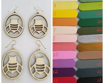 Bee Custom Painted Earring, wedding, bridesmaid, laser cut