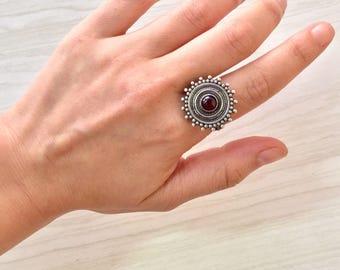 Vintage Silver Ring | Sunburst | Red Gemstone | Sunburst Jewelry | 925 | Silver Ring | Vintage Jewelry | Vintage Ring | Gift for Her