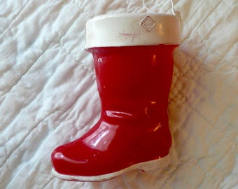 Vintage Christmas Oranment Red Boot Candy Container by VintageReinvented