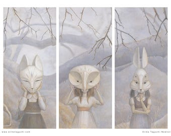 "Girls in Masks Art, 16x12 Forest Animal Masks Fine Art Print, Triptych Owl Rabbit Fox Painting - ""We Hide in the Forest"""