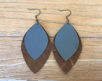 Large Leather Leaf Earrings