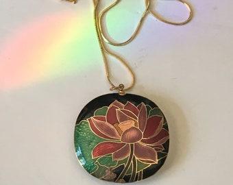 Vintage Big Cloisonne Pendant // Lotus Blossom // Cloisonne Pendant // Lotus Blossom Pendant