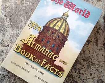 Original Vintage The World 1924 Almanac & Book of Facts Great Ads and Info NYC
