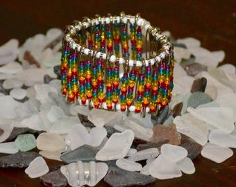 Rainbow Safety Pin Bracelet