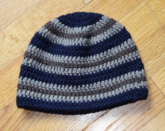 Navy Blue and Gray Crocheted Toddler Hat
