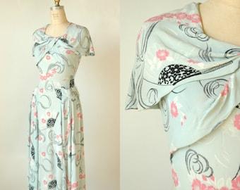 1940s Crepe Floral Dress --- Vintage Spring Day Dress