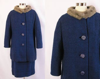 1960s Suit ~ Kennie Original Blue Wool Boucle Two Piece Set ~ Cup & Saucer Mink Collar ~ Fashionably Chic ~ Excellent Condition ~ Large