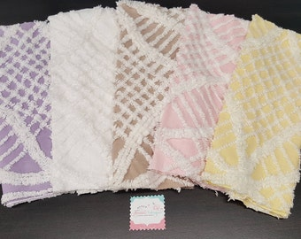 """5-Vintage Chenille Fabric-Pink, Purple,Yellow,White & Beige Wedding ring Chenille Fabric (FIVE 12"""" x 18"""" Cuts) Chenille quilts-Cottage chic"""