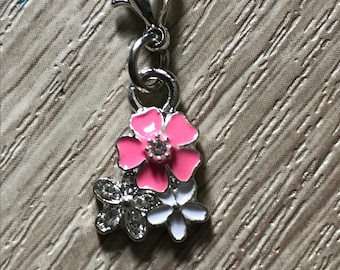 Pink  and white flowers bracelet charm