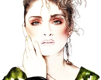 Madonna 80's Icon watercolour illustration Giclée Print