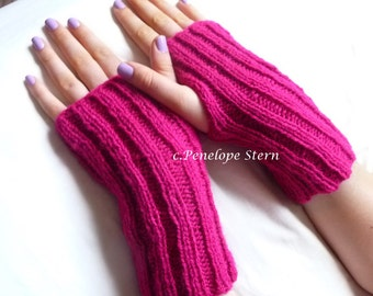 Womens Knit Mittens, Knit Fingerless Gloves, Winter Gloves, Fingerless Pink Mittens, Womens Gloves, Knit Gloves Womens, Knit Gloves Wool