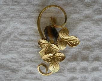 Vintage Brooch Pin Signed 14K GF Tiger Eye Leaf