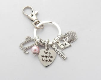 Teacher Accessories, Teacher Keychain, Teacher Gift, Gifts for Teachers, Gifts from Student, Love Inspire Teach Keychain, End of year gift