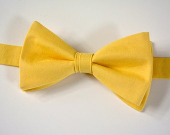 Men's bow ties/Yellow bow tie for men, self tie bow tie, ready tied bow tie, free style bow tie, buttercup yellow wedding bow tie