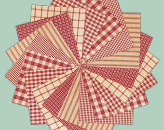 6 inch -- 40 Rustic Red Homespun Quilt Squares