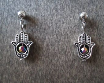 Rainbow Hematite Hamsa Bead Post Stud Earrings