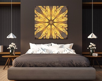 Prosperity Mandala Art ~ Canvas print ~ Unique Housewarming Gift ~ Nature Art ~ Sun Photography ~ Golden Wall Art for Bedroom & Living room