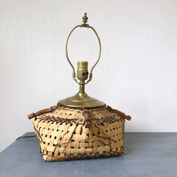 rattan table lamp - woven square bamboo basket - vintage lighting - boho bedside lamp