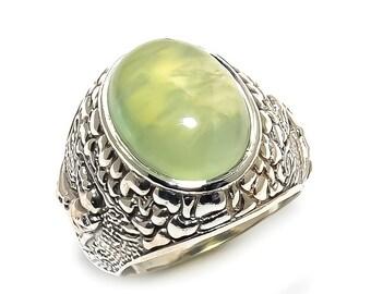 Natural Prehnite Oval Gemstone Ring 925 Sterling Silver R946