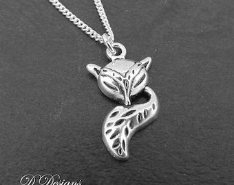 Silver Fox Necklace, Silver Fox Pendant, Silver Charm Necklace, Silver Necklace, Trendy Necklace
