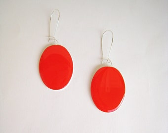 Red coral earrings, statement earrings, red resin earrings, modern minimalist, big oval long lightweight earrings, color block jewelry