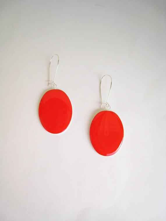 Red coral earrings, statement earrings, red resin earrings, modern minimalist, big oval long lightweight earrings, color block jewelry