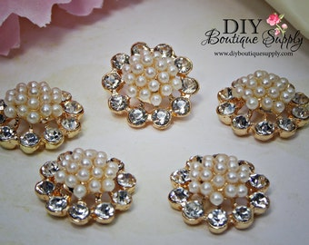 Small Gold Crystal Pearl Buttons Rhinestone buttons Flatback flower centers Baby Headbands Scrapbooking Embellishments  5 pcs 20mm 906065