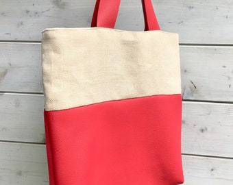 Ivory linen and raspberry leather tote bag