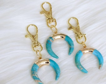Turquoise Crescent Horn Keychain