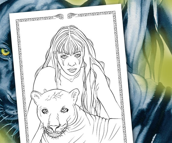 Coloring Pages That Look Like Real Animals : Fantasy coloring pages panther totem totem