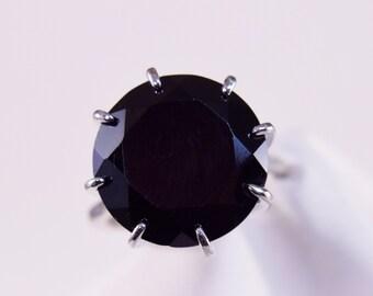 Black Spinel Solitaire Ring, Genuine Gemstone Huge 16mm Round 17+carat, Black Engagement Ring, Set in 925 Sterling Silver Ring