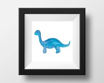 Watercolor Dinosaur (Blue)