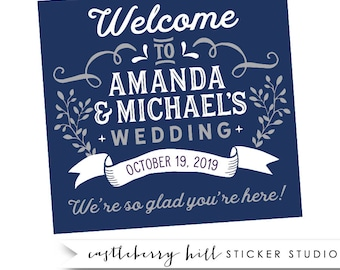 Large welcome stickers, gable box stickers, gable box labels, large labels, welcome labels, welcome bag ideas, wedding welcome bag, bag tags