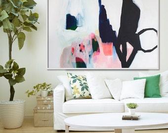 """ABSTRACT print, Giclée print of painting, black, white, pink, """"Aperture of Distinction iii"""""""