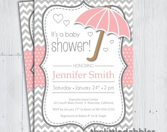 Printable Pink Umbrella Baby Shower Invitation -- Baby Sprinkle, Spring Rain, Shower Mom With Love Party, Raining Hearts -- PNG & JPG