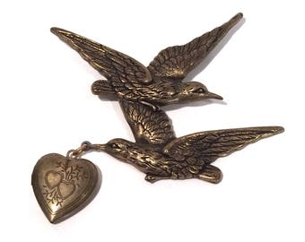 Heart Locket Brooch with Birds in Flight